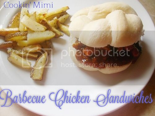 Barbecue Chicken Sandwiches cooked on the stove top or slow cooker from cookingmimi.wordpress.com